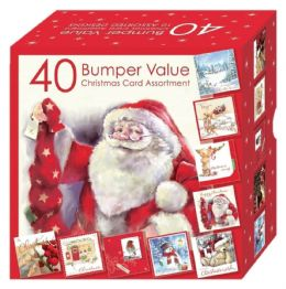 Bumper Box 40 Assorted Cute & Traditional Xmas Christmas Cards - 10 Designs